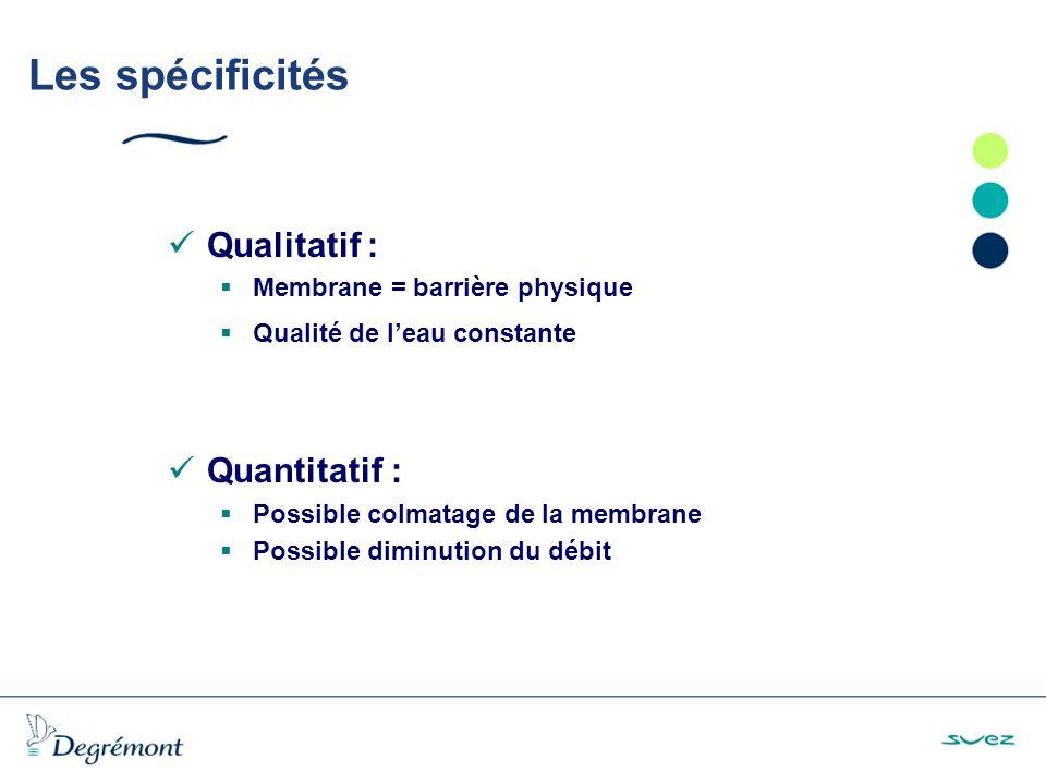 Les spécificités Qualitatif : Membrane = barrière physique Qualité de leau constante Quantitatif : Possible colmatage de la membrane Possible diminution du débit