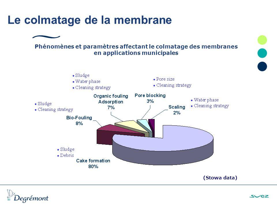 Le colmatage de la membrane Phénomènes et paramètres affectant le colmatage des membranes en applications municipales (Stowa data)