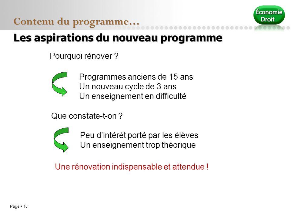 Page 10 Contenu du programme… Pourquoi rénover ? Programmes anciens de 15 ans Un nouveau cycle de 3 ans Un enseignement en difficulté Que constate-t-o