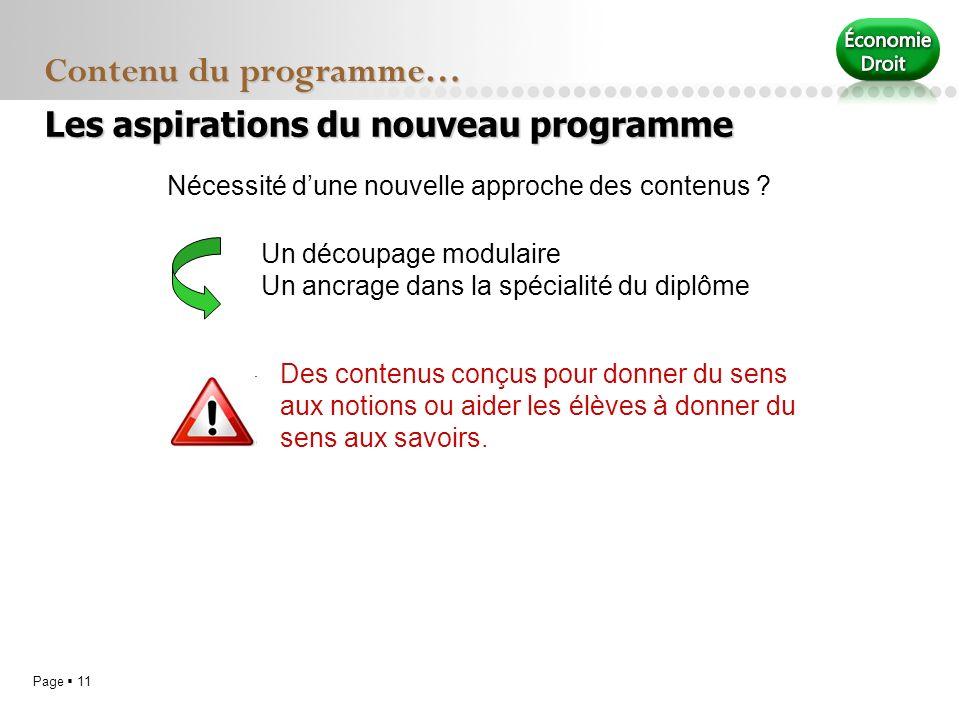 Page 11 Contenu du programme… Nécessité dune nouvelle approche des contenus ? Un découpage modulaire Un ancrage dans la spécialité du diplôme Des cont