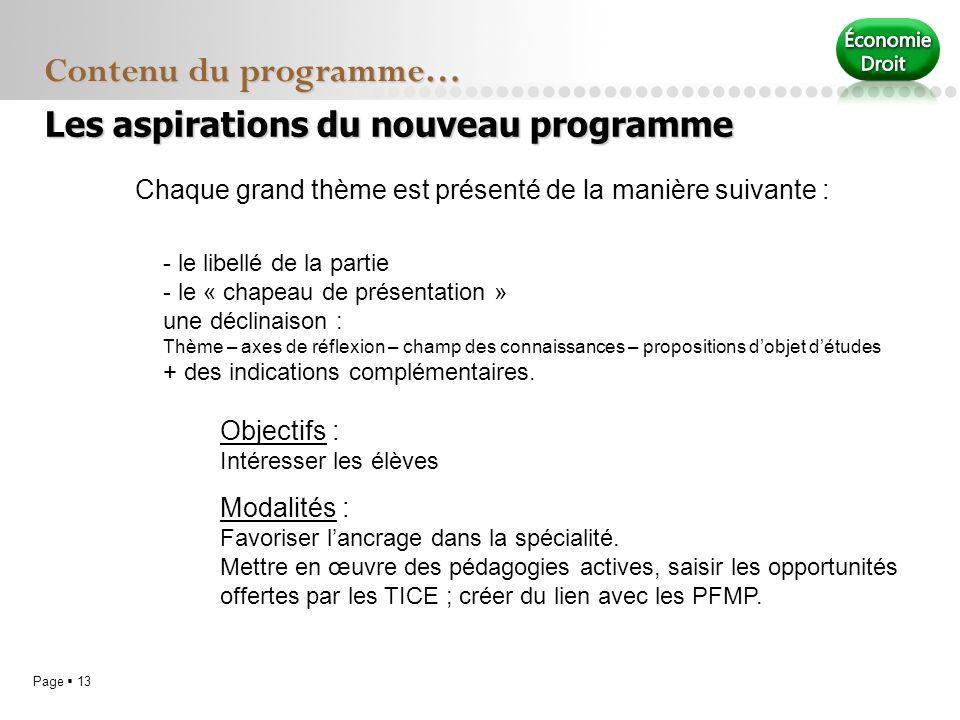 Page 13 Contenu du programme… Chaque grand thème est présenté de la manière suivante : Objectifs : Intéresser les élèves Modalités : Favoriser lancrag