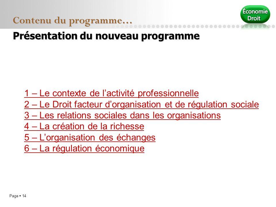 Page 14 Contenu du programme… Présentation du nouveau programme 1 – Le contexte de lactivité professionnelle 2 – Le Droit facteur dorganisation et de