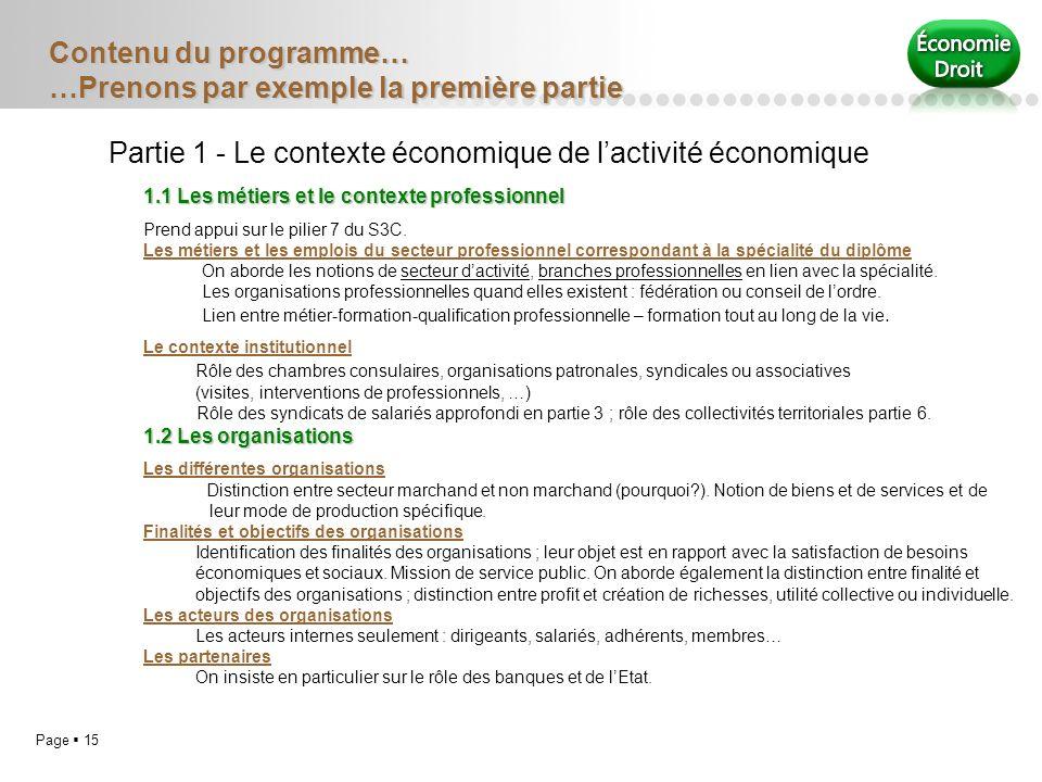 Page 15 Contenu du programme… …Prenons par exemple la première partie Partie 1 - Le contexte économique de lactivité économique 1.1 Les métiers et le