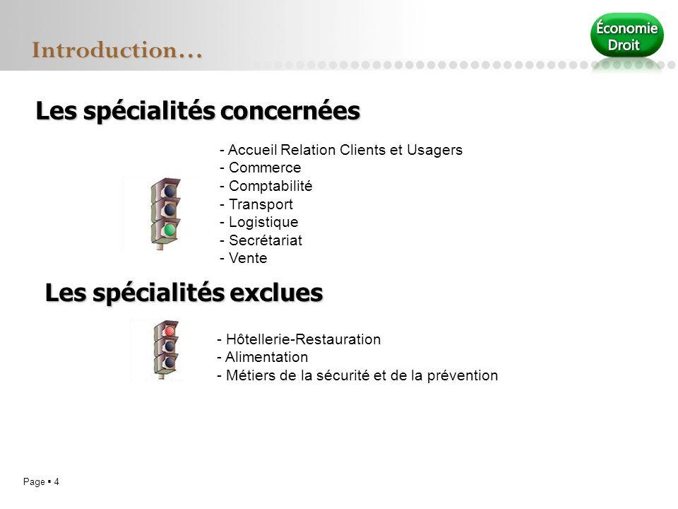Page 4 Les spécialités concernées - Accueil Relation Clients et Usagers - Commerce - Comptabilité - Transport - Logistique - Secrétariat - Vente Intro