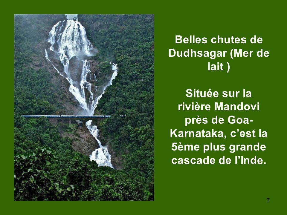 7 Belles chutes de Dudhsagar (Mer de lait ) Située sur la rivière Mandovi près de Goa- Karnataka, cest la 5ème plus grande cascade de lInde.