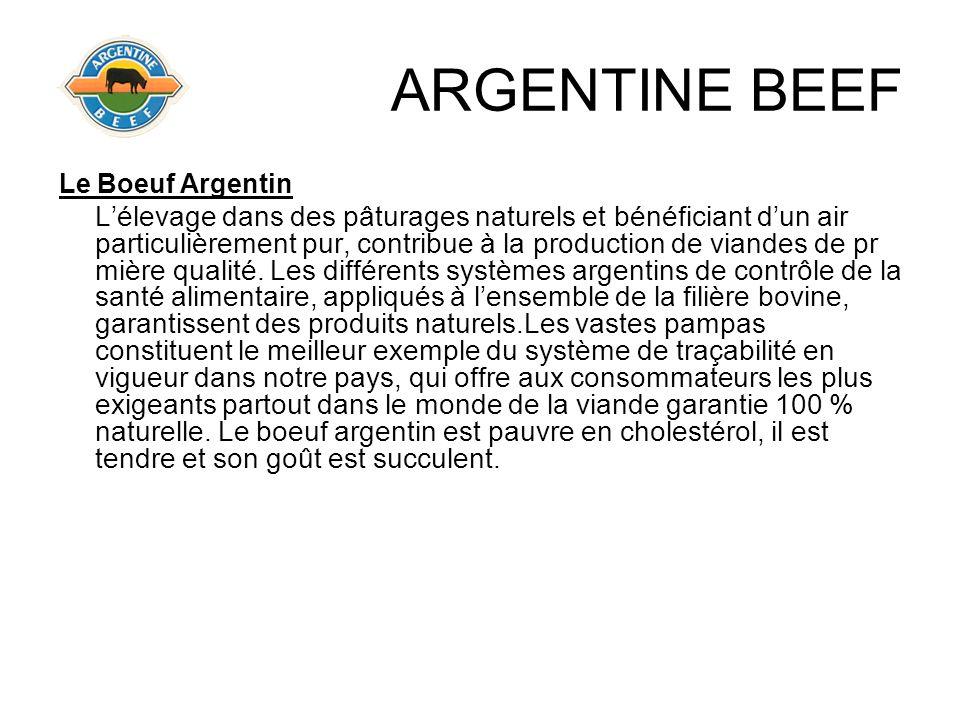 ARGENTINE BEEF Le Boeuf Argentin Lélevage dans des pâturages naturels et bénéficiant dun air particulièrement pur, contribue à la production de viande