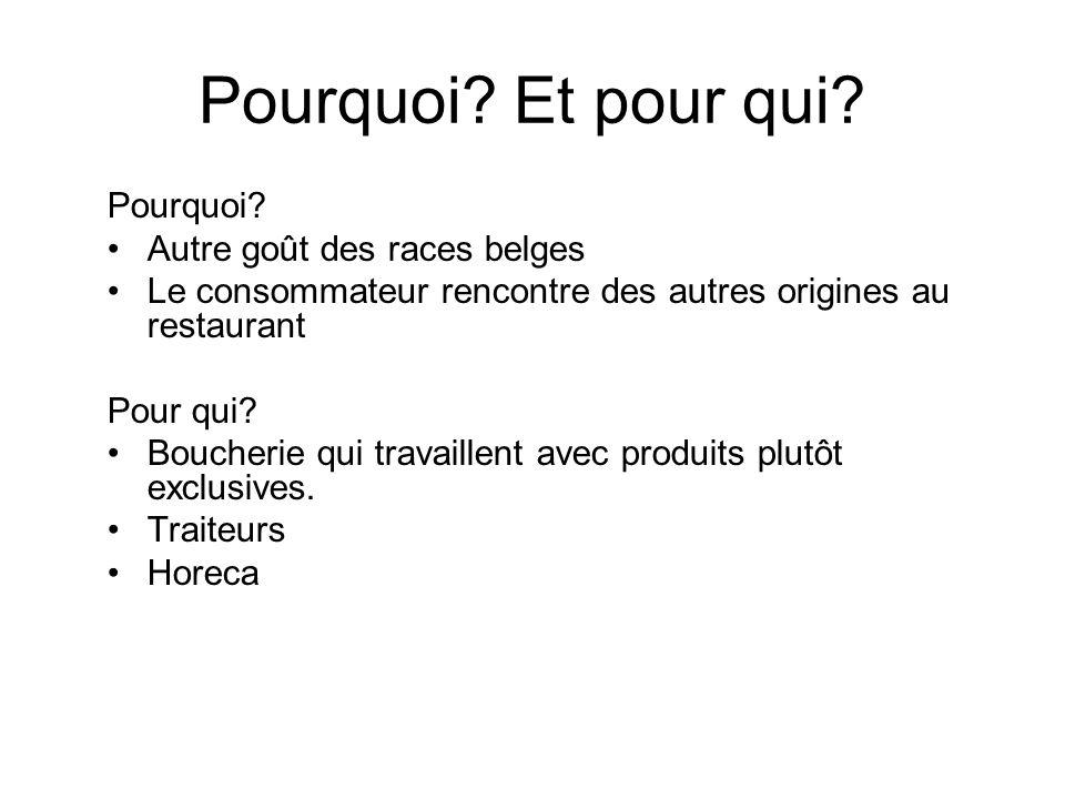 Pourquoi? Et pour qui? Pourquoi? Autre goût des races belges Le consommateur rencontre des autres origines au restaurant Pour qui? Boucherie qui trava