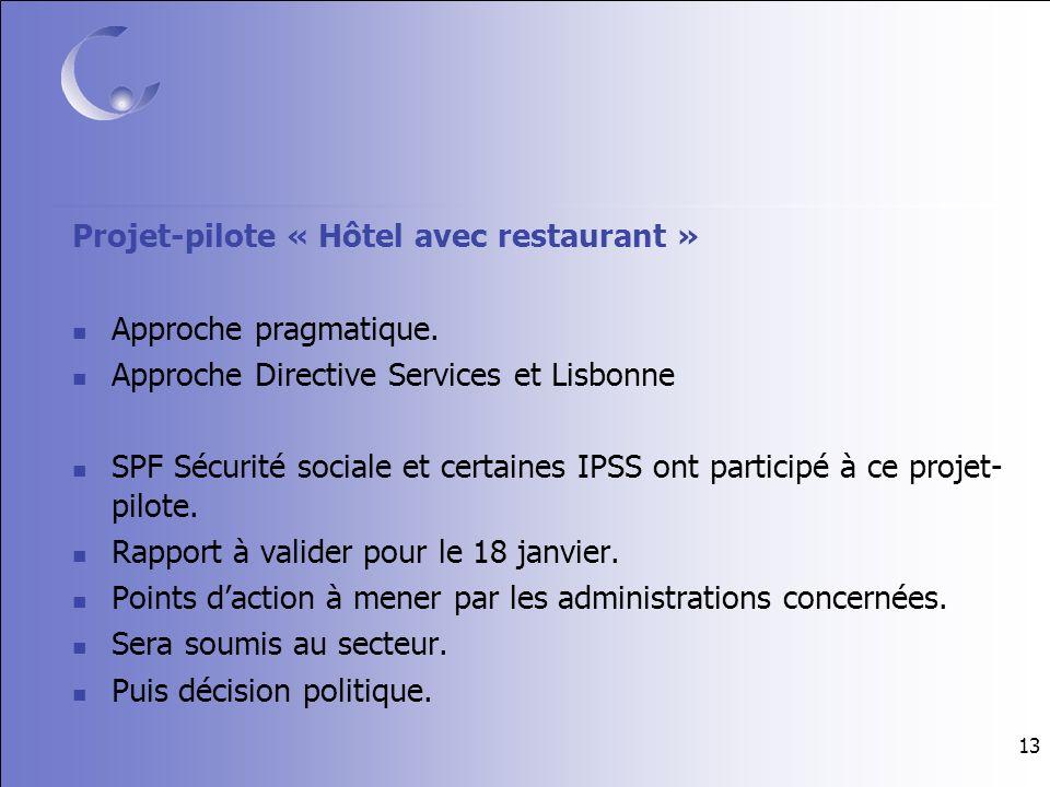 13 Projet-pilote « Hôtel avec restaurant » Approche pragmatique.