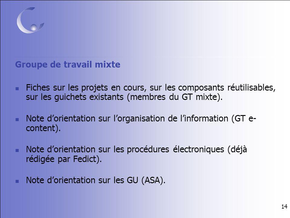 14 Groupe de travail mixte Fiches sur les projets en cours, sur les composants réutilisables, sur les guichets existants (membres du GT mixte).