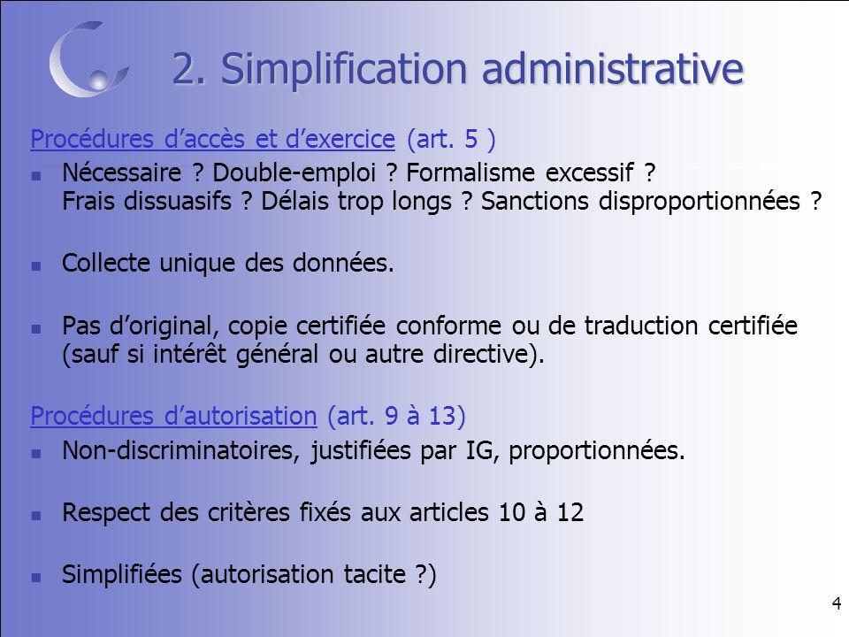 4 2. Simplification administrative Procédures daccès et dexercice (art.