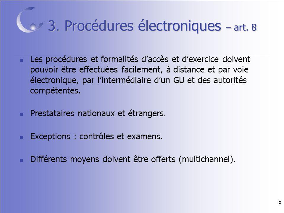 5 3. Procédures électroniques – art.