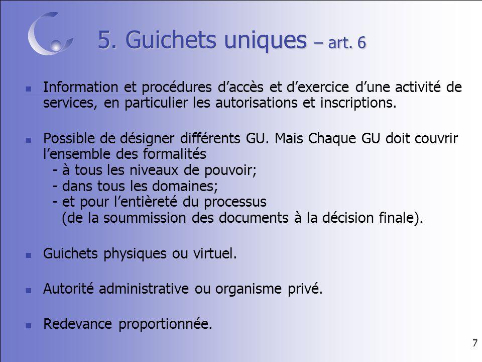 7 5. Guichets uniques – art.