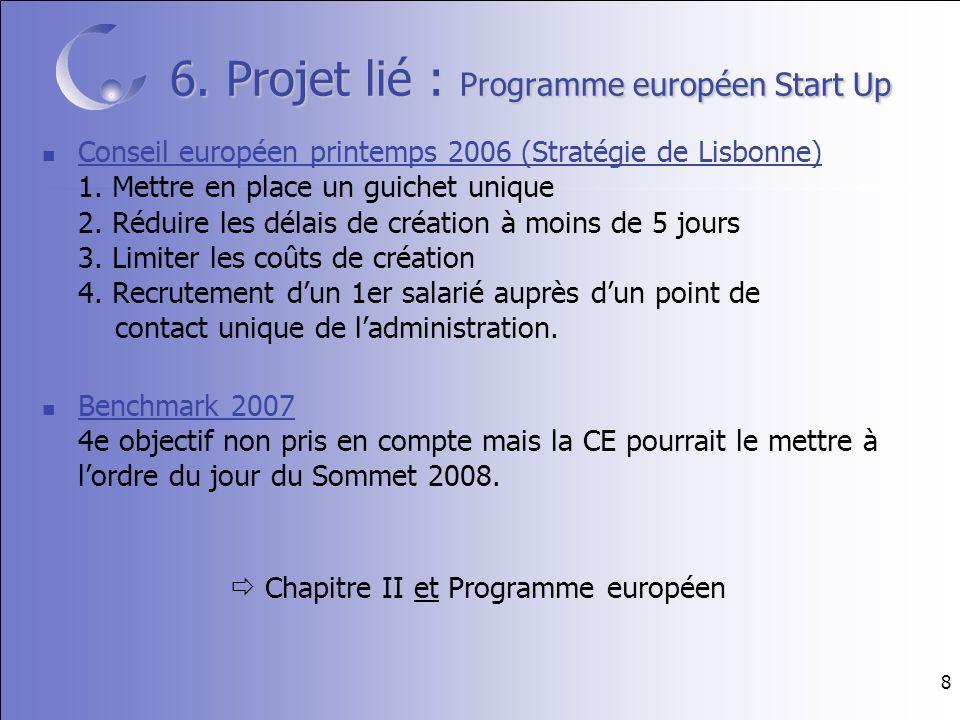 8 6. Projet lié : Programme européen Start Up Conseil européen printemps 2006 (Stratégie de Lisbonne) 1. Mettre en place un guichet unique 2. Réduire