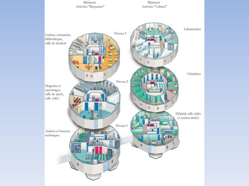 Chaque bâtiment comprend 3 étages, représentant une surface totale habitable de 1.500 m². L'un est dédié aux activités dites