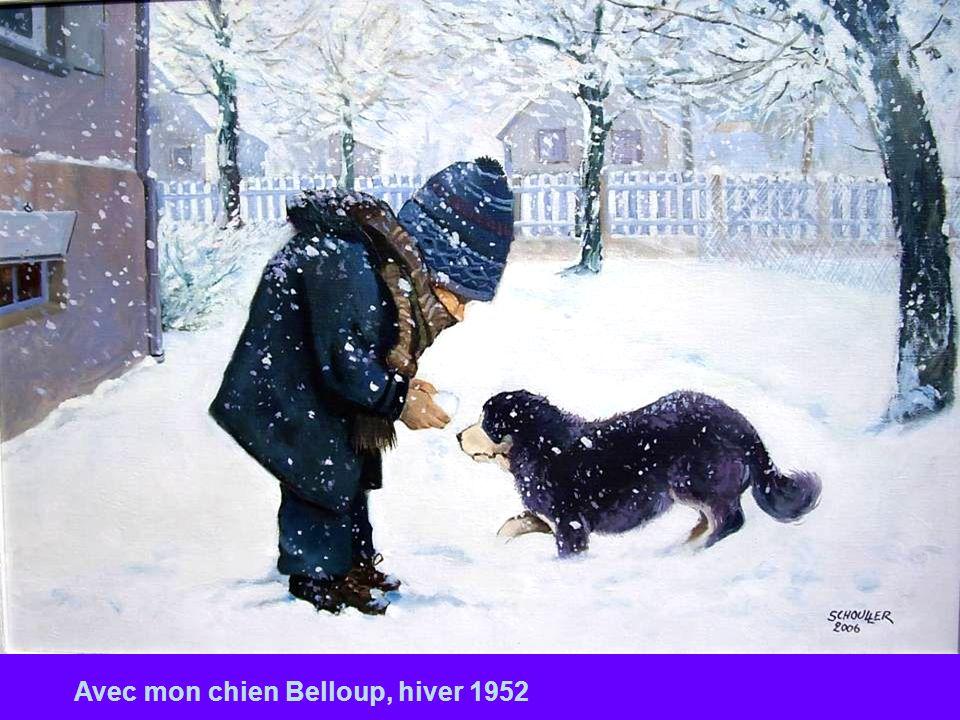 Avec mon chien Belloup, hiver 1952
