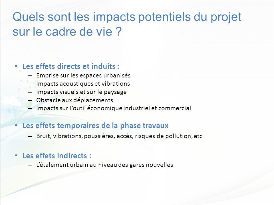 Quels sont les impacts potentiels du projet sur le cadre de vie ? Les effets directs et induits : – Emprise sur les espaces urbanisés – Impacts acoust
