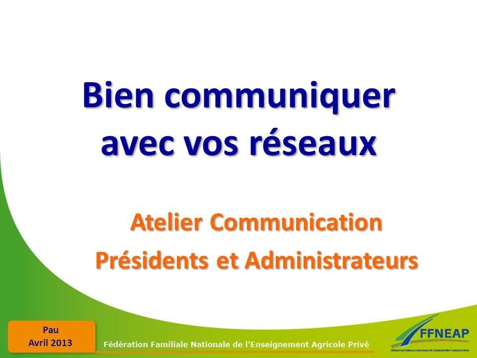 Pau Avril 2013 Bien communiquer avec vos réseaux Atelier Communication Présidents et Administrateurs