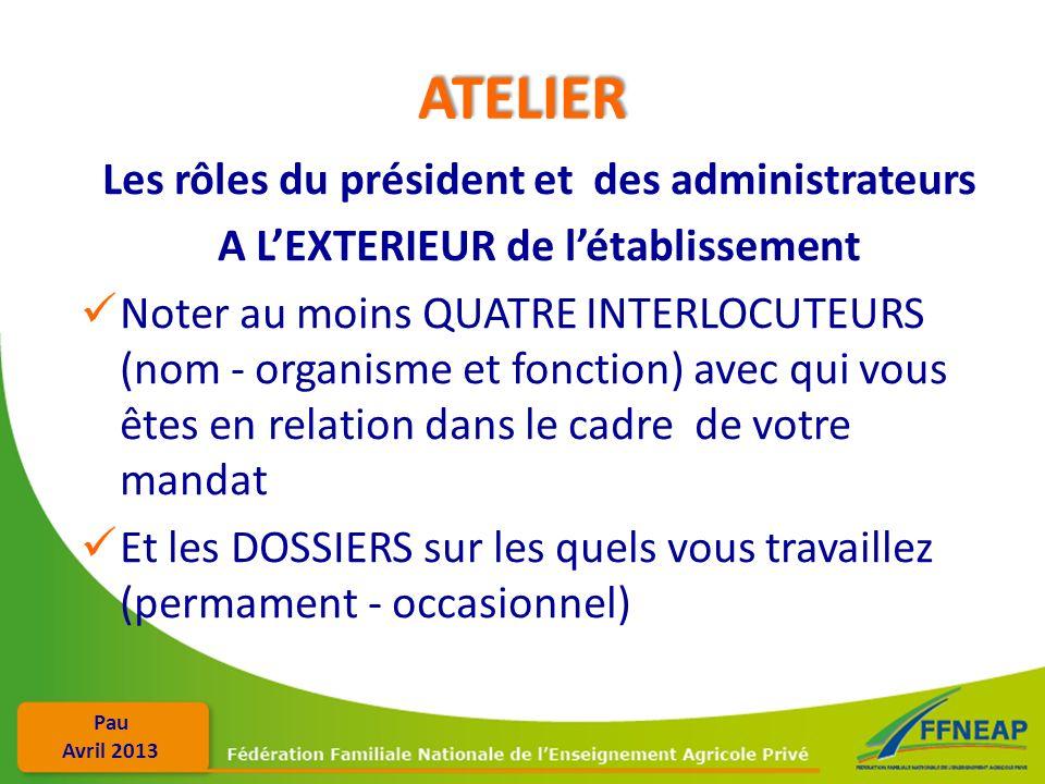 Pau Avril 2013 ATELIER Les rôles du président et des administrateurs A LEXTERIEUR de létablissement Noter au moins QUATRE INTERLOCUTEURS (nom - organi