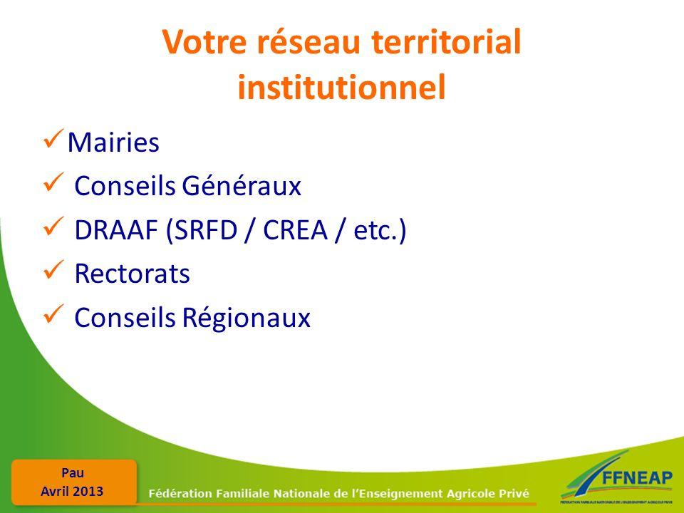 Pau Avril 2013 Votre réseau territorial institutionnel Mairies Conseils Généraux DRAAF (SRFD / CREA / etc.) Rectorats Conseils Régionaux