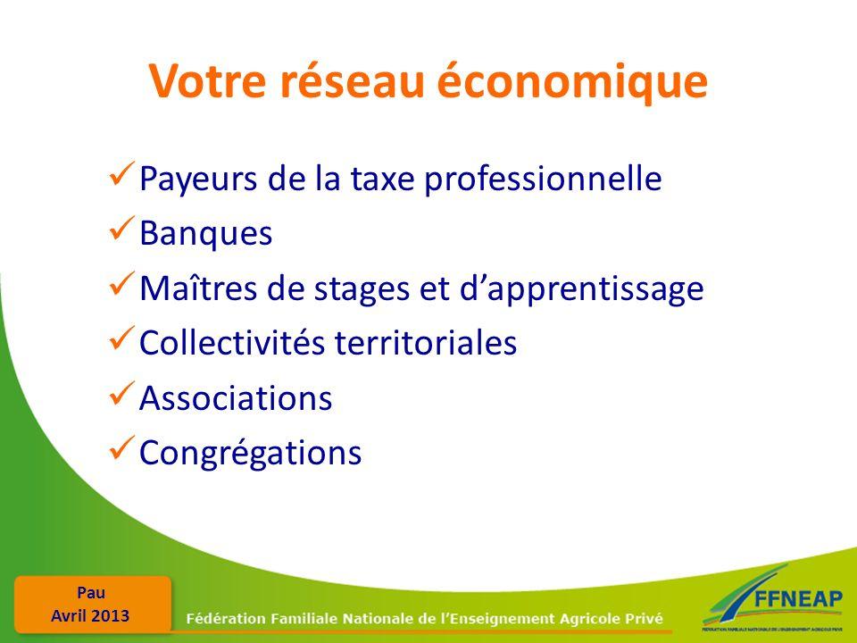Pau Avril 2013 Votre réseau économique Payeurs de la taxe professionnelle Banques Maîtres de stages et dapprentissage Collectivités territoriales Asso