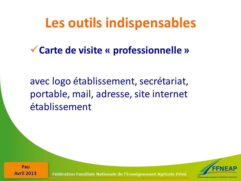 Pau Avril 2013 Les outils indispensables Carte de visite « professionnelle » avec logo établissement, secrétariat, portable, mail, adresse, site inter