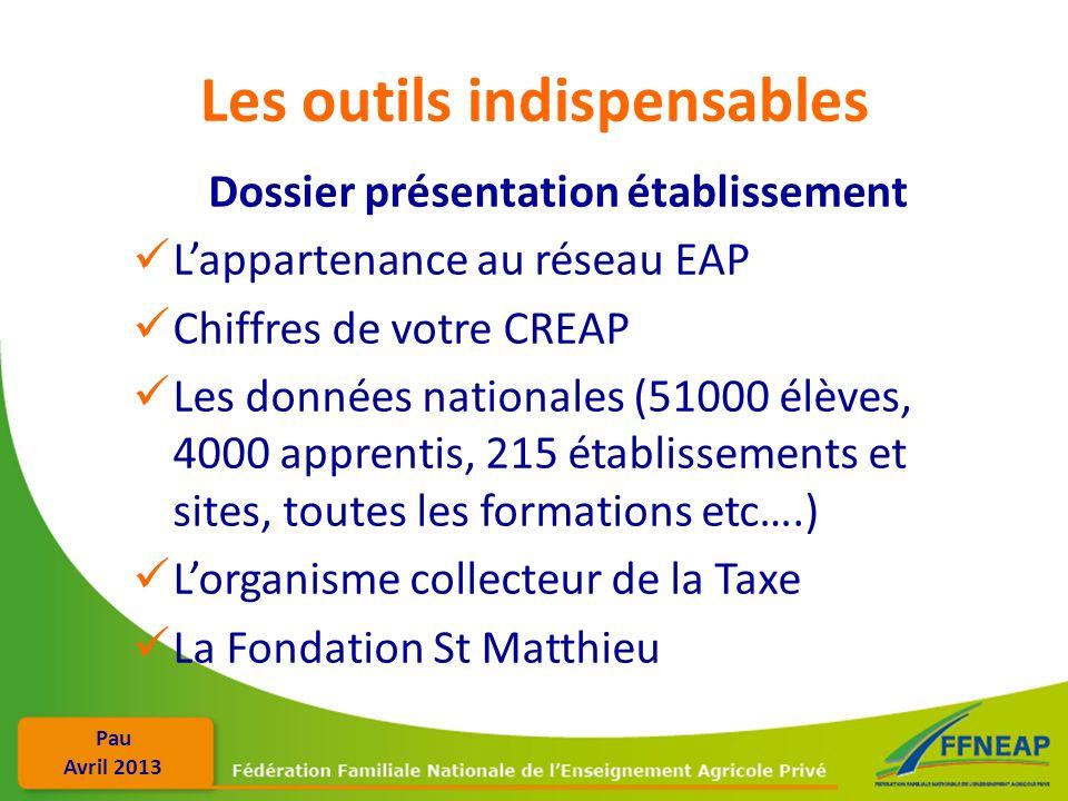 Pau Avril 2013 Les outils indispensables Dossier présentation établissement Lappartenance au réseau EAP Chiffres de votre CREAP Les données nationales