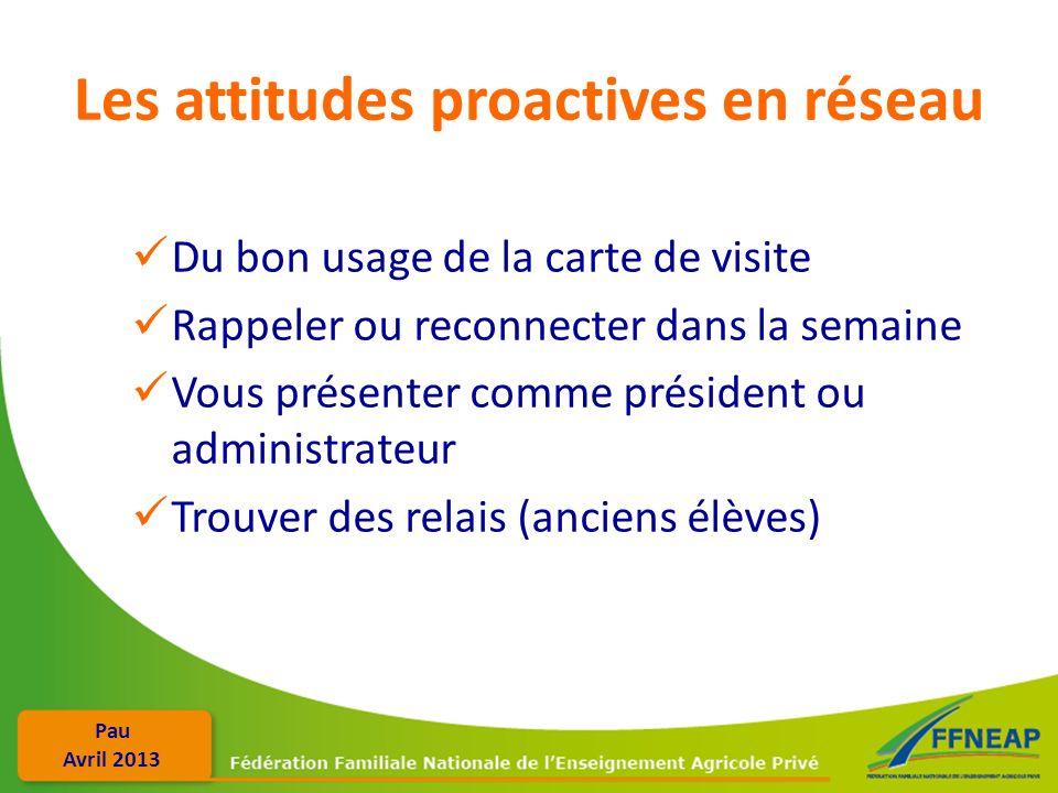 Pau Avril 2013 Les attitudes proactives en réseau Du bon usage de la carte de visite Rappeler ou reconnecter dans la semaine Vous présenter comme prés