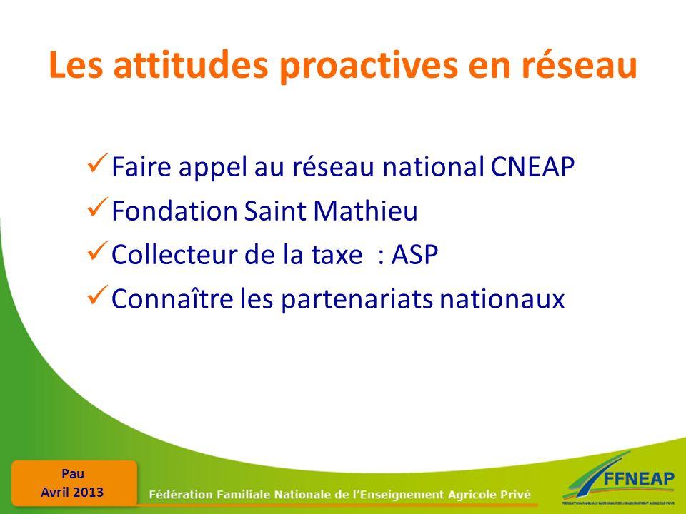 Pau Avril 2013 Les attitudes proactives en réseau Faire appel au réseau national CNEAP Fondation Saint Mathieu Collecteur de la taxe : ASP Connaître l