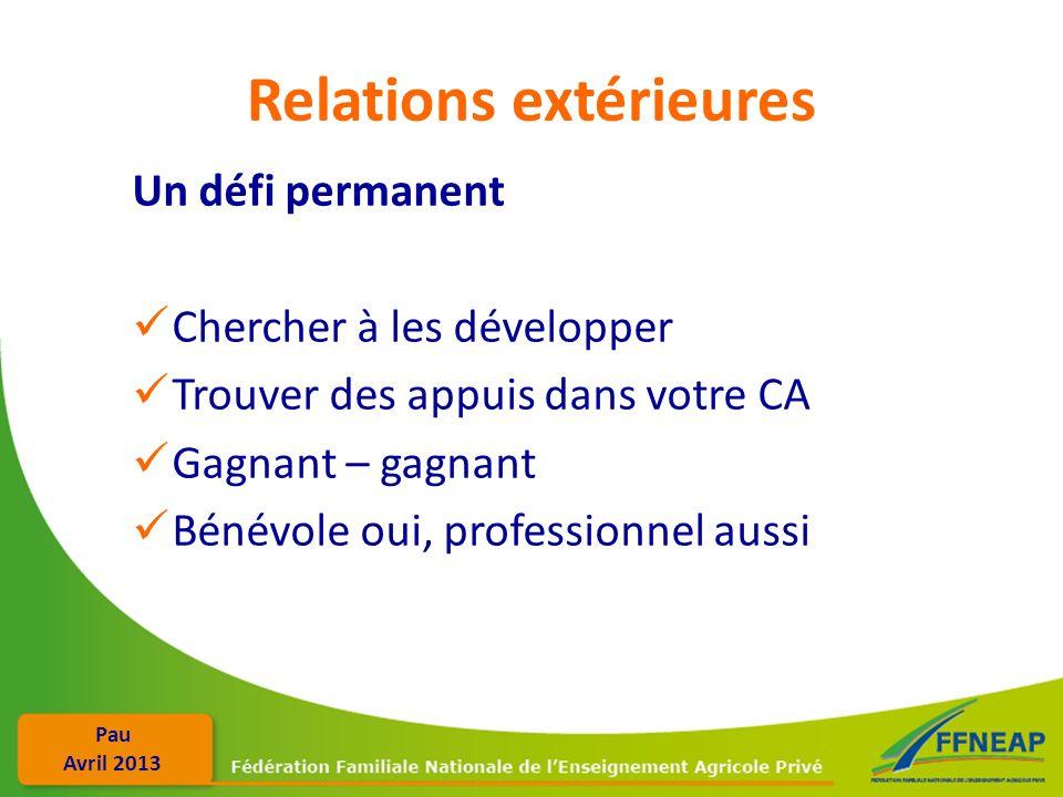 Pau Avril 2013 Relations extérieures Un défi permanent Chercher à les développer Trouver des appuis dans votre CA Gagnant – gagnant Bénévole oui, prof