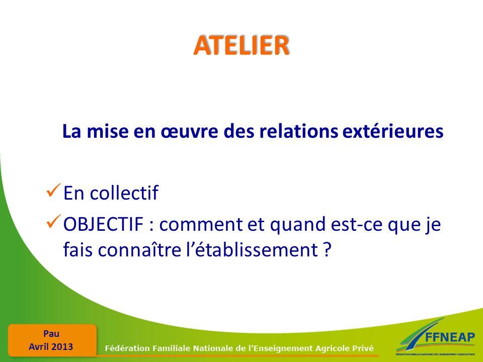 Pau Avril 2013 ATELIER La mise en œuvre des relations extérieures En collectif OBJECTIF : comment et quand est-ce que je fais connaître létablissement