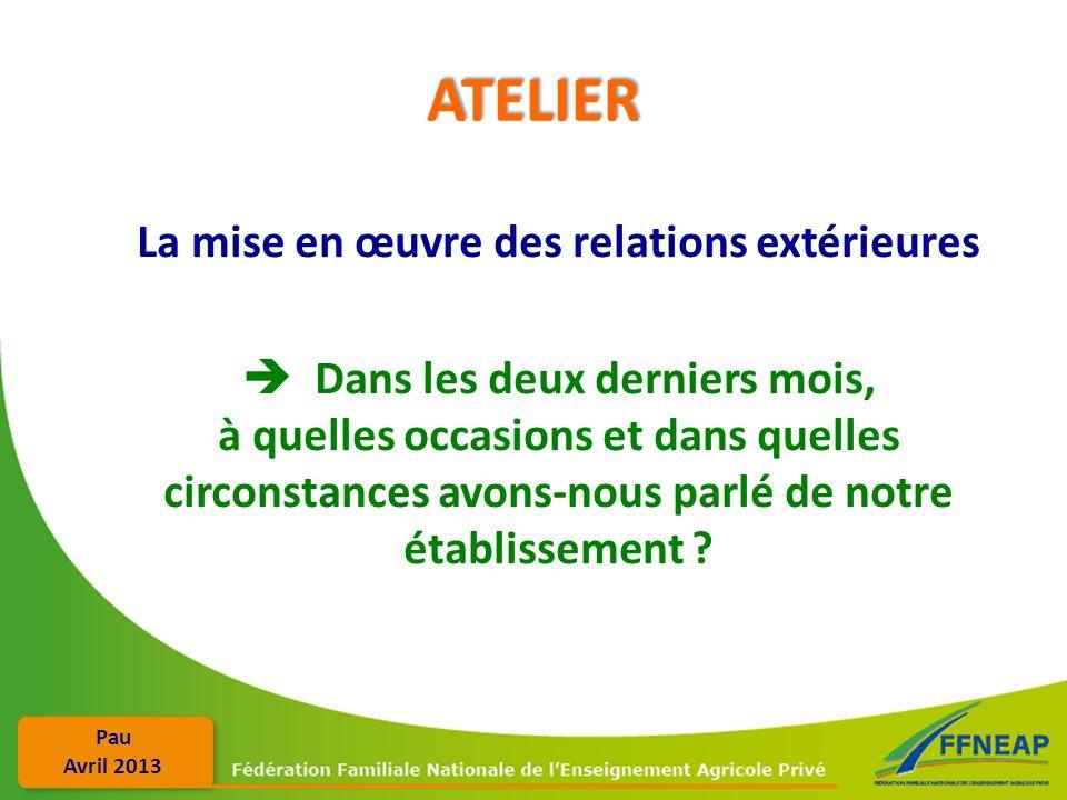 Pau Avril 2013 ATELIER La mise en œuvre des relations extérieures Dans les deux derniers mois, à quelles occasions et dans quelles circonstances avons