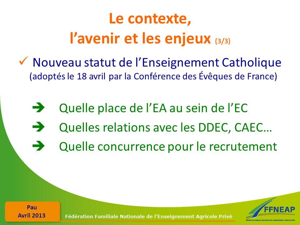 Pau Avril 2013 Le contexte, lavenir et les enjeux (3/3) Nouveau statut de lEnseignement Catholique (adoptés le 18 avril par la Conférence des Évêques