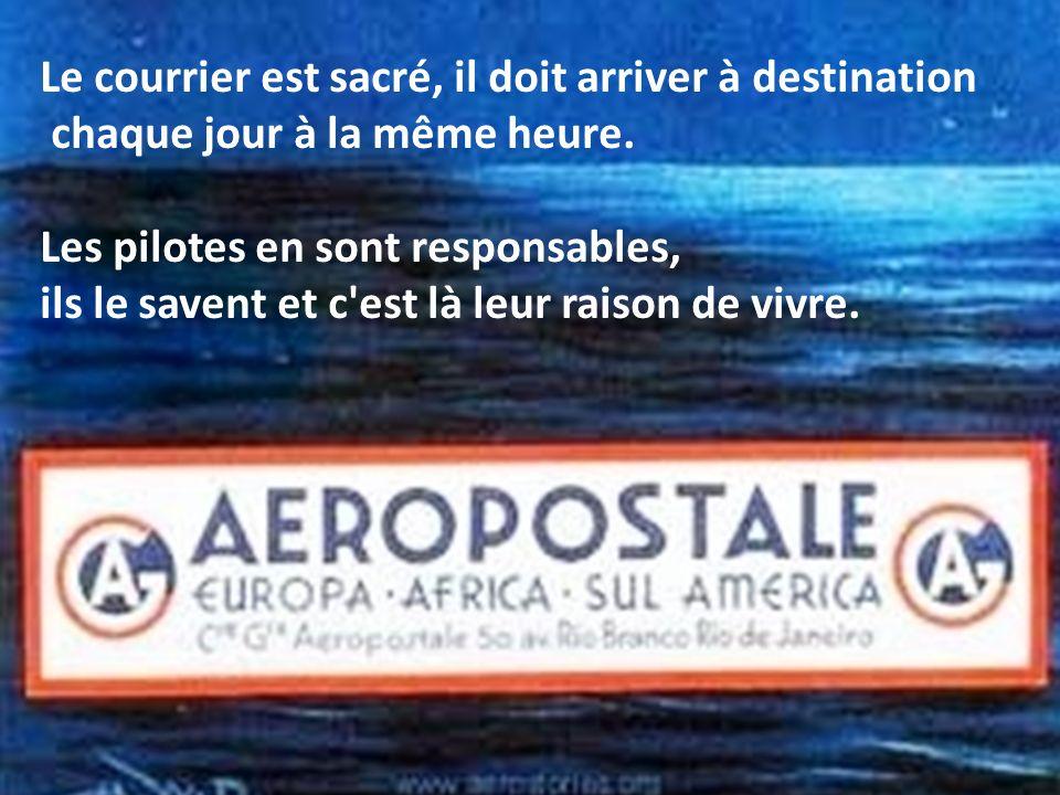 Le chef Rivière, personnage principal du roman veut prouver que l'avion est le moyen de transport le plus rapide pour acheminer le courrier… à conditi