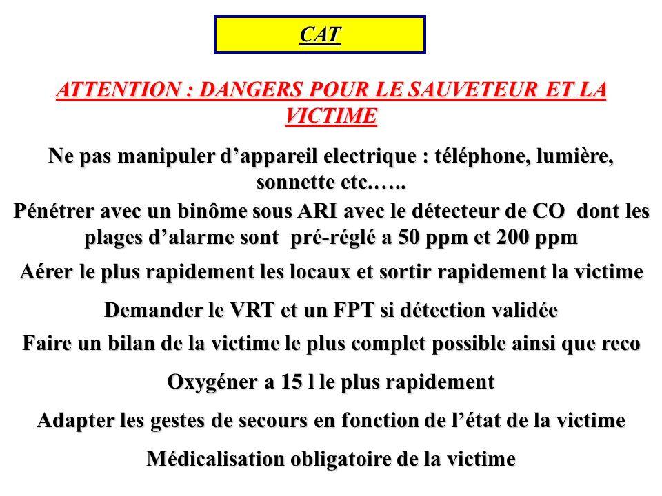 CAT ATTENTION : DANGERS POUR LE SAUVETEUR ET LA VICTIME Ne pas manipuler dappareil electrique : téléphone, lumière, sonnette etc.…..