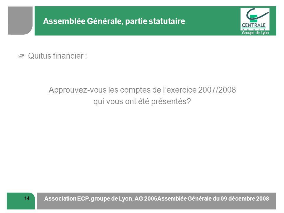 Groupe de Lyon 14 Association ECP, groupe de Lyon, AG 2006Assemblée Générale du 09 décembre 2008 Assemblée Générale, partie statutaire Quitus financie