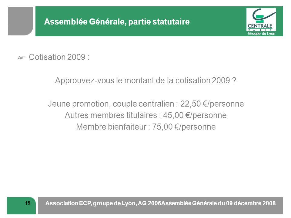 Groupe de Lyon 15 Association ECP, groupe de Lyon, AG 2006Assemblée Générale du 09 décembre 2008 Assemblée Générale, partie statutaire Cotisation 2009 : Approuvez-vous le montant de la cotisation 2009 .
