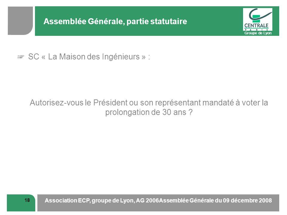 Groupe de Lyon 18 Association ECP, groupe de Lyon, AG 2006Assemblée Générale du 09 décembre 2008 Assemblée Générale, partie statutaire SC « La Maison des Ingénieurs » : Autorisez-vous le Président ou son représentant mandaté à voter la prolongation de 30 ans