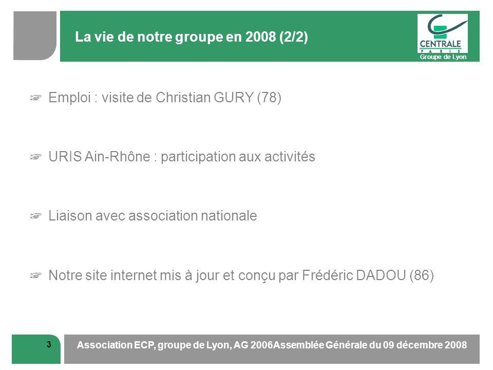 Groupe de Lyon 3 Association ECP, groupe de Lyon, AG 2006Assemblée Générale du 09 décembre 2008 La vie de notre groupe en 2008 (2/2) Emploi : visite d