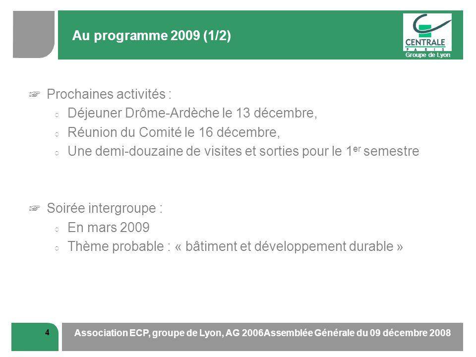 Groupe de Lyon 4 Association ECP, groupe de Lyon, AG 2006Assemblée Générale du 09 décembre 2008 Au programme 2009 (1/2) Prochaines activités : Déjeune