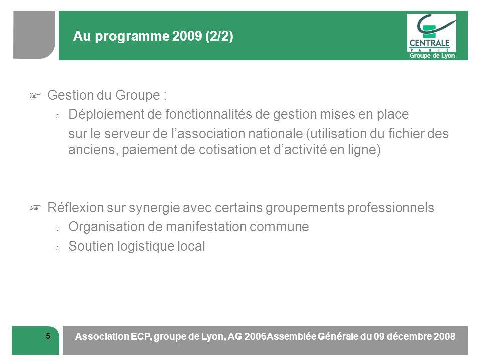 Groupe de Lyon 5 Association ECP, groupe de Lyon, AG 2006Assemblée Générale du 09 décembre 2008 Au programme 2009 (2/2) Gestion du Groupe : Déploiemen