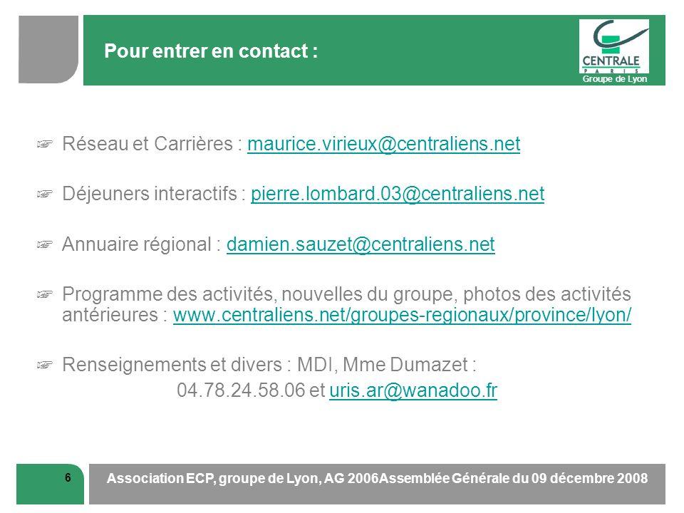 Groupe de Lyon 6 Association ECP, groupe de Lyon, AG 2006Assemblée Générale du 09 décembre 2008 Pour entrer en contact : Réseau et Carrières : maurice