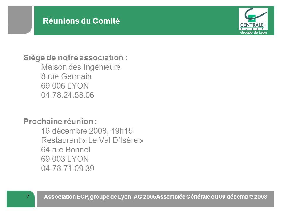 Groupe de Lyon 7 Association ECP, groupe de Lyon, AG 2006Assemblée Générale du 09 décembre 2008 Réunions du Comité Siège de notre association : Maison