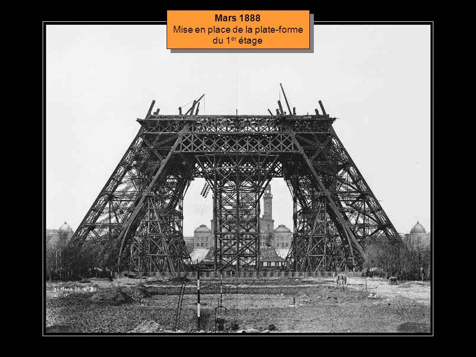 Décembre 1887 Montage du pilier central provisoire Décembre 1887 Montage du pilier central provisoire