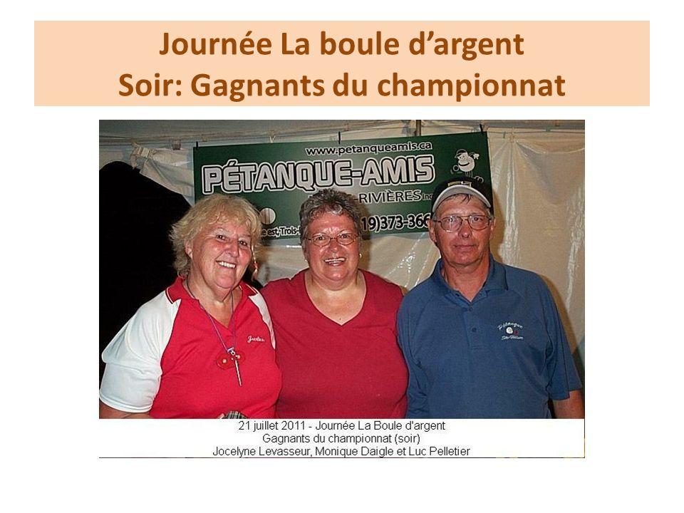 Journée La boule dargent Soir: Gagnants du championnat