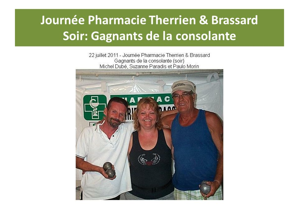 Journée Pharmacie Therrien & Brassard Soir: Gagnants de la consolante