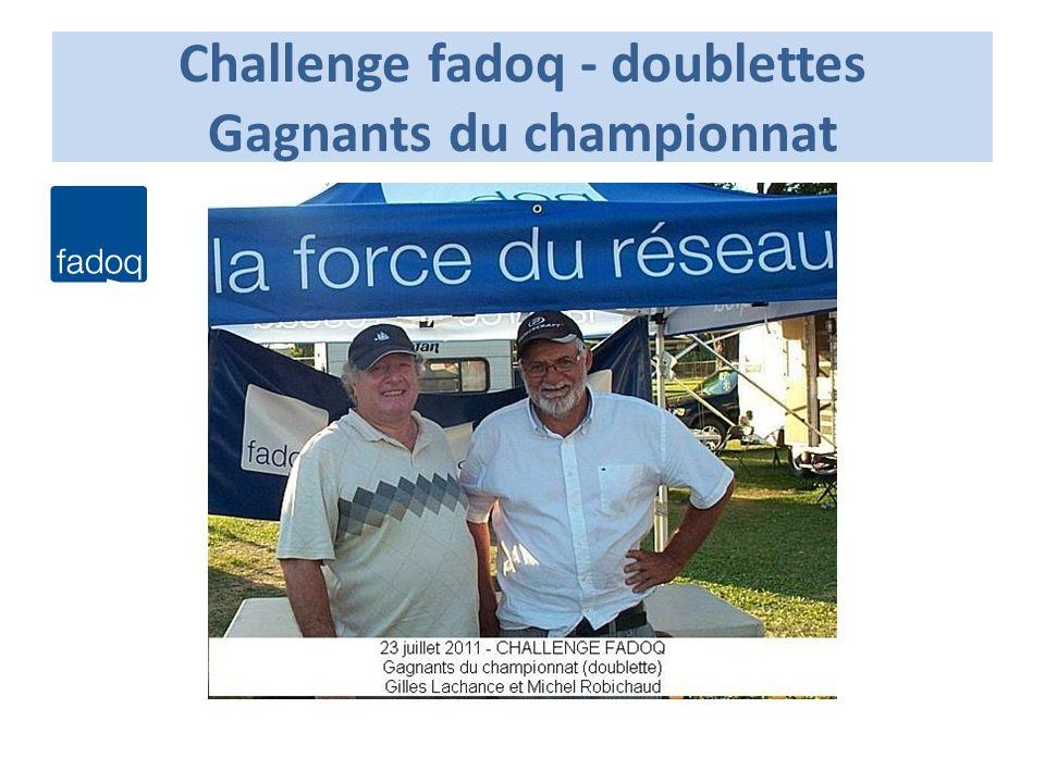 Challenge fadoq - doublettes Gagnants du championnat