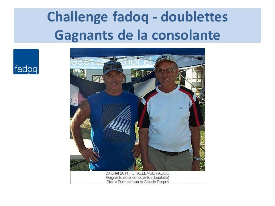 Challenge fadoq - doublettes Gagnants de la consolante