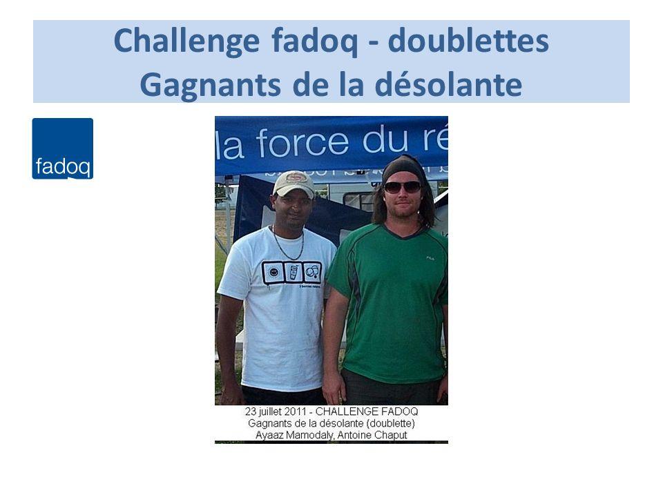 Challenge fadoq - doublettes Gagnants de la désolante
