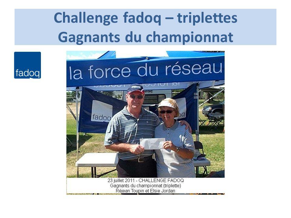 Challenge fadoq – triplettes Gagnants du championnat