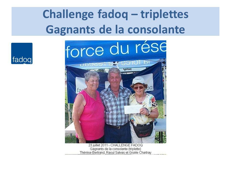Challenge fadoq – triplettes Gagnants de la consolante